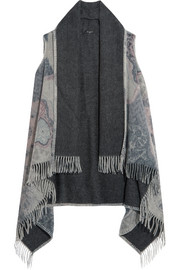 Printed fringed wool-felt poncho