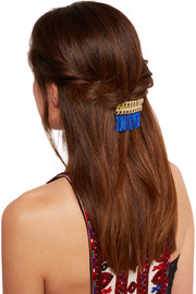 Atena fringed gold-tone hair slide