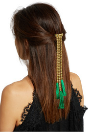 Tasseled gold-tone hairclip