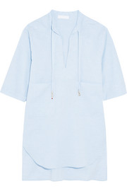 Embellished cotton-chambray coverup