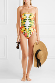 Mesh-trimmed printed bandeau swimsuit