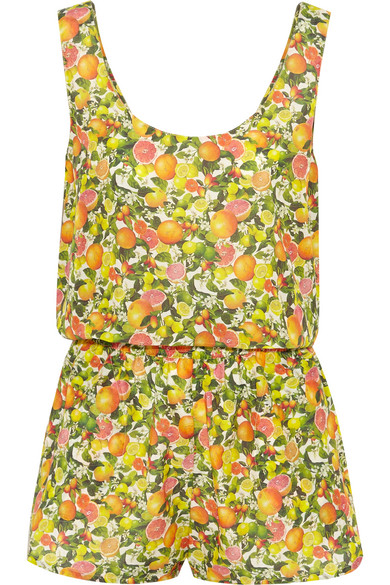 Stella McCartney - Printed Cotton And Silk-blend Playsuit - Yellow