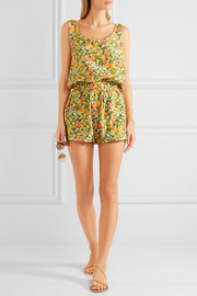 Printed cotton and silk-blend playsuit