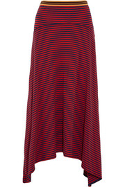Asymmetric striped cotton-jersey skirt