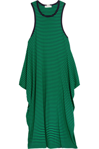 Stella McCartney - Calypso Striped Cotton-jersey Dress - Forest green