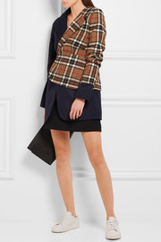 Paneled checked wool-blend blazer