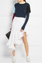 Asymmetric ruffled cotton-piqué skirt