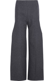 Pinstriped wool-blend wide-leg pants