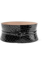 Alaïa Croc-effect leather waist belt