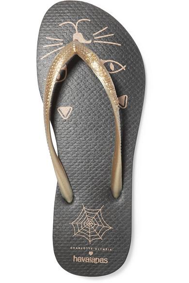 14307e36a63 Charlotte Olympia. + Havaianas metallic rubber flip flops. £45. Zoom In