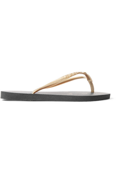 73c44b6dde19 Charlotte Olympia. + Havaianas metallic rubber flip flops