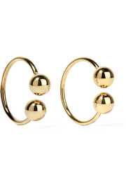 Gold-plated embellished hoop earrings