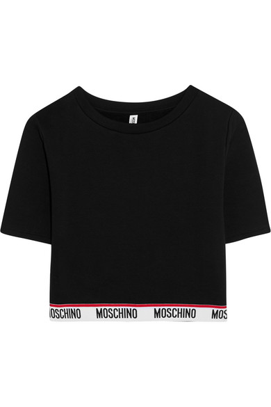 Moschino - Cropped Cotton-jersey Top - Black