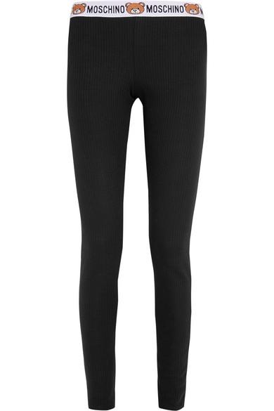 Moschino - Ribbed Cotton-jersey Leggings - Black