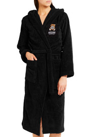 Appliquéd hooded cotton-terry robe