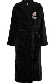 Moschino Appliquéd hooded cotton-terry robe