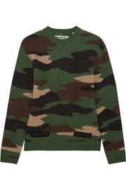 Oversized camouflage-intarsia wool sweater