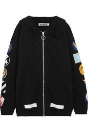 Oversized appliquéd cotton-jersey hooded top