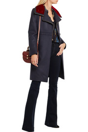 Roberto Cavalli Velvet-trimmed stretch wool-blend twill coat