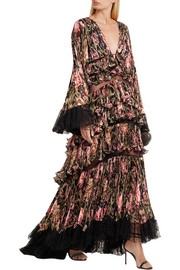 Roberto Cavalli Tiered lace-trimmed plissé-silk gown