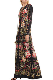 Roberto Cavalli Embellished printed stretch-jersey maxi dress