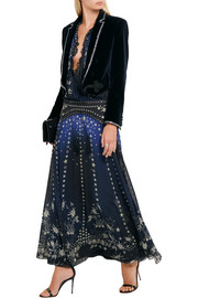 Roberto Cavalli Embellished printed silk-chiffon maxi dress