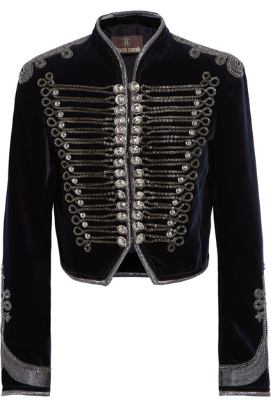 Roberto Cavalli - Embellished Cropped Velvet Jacket - Midnight blue