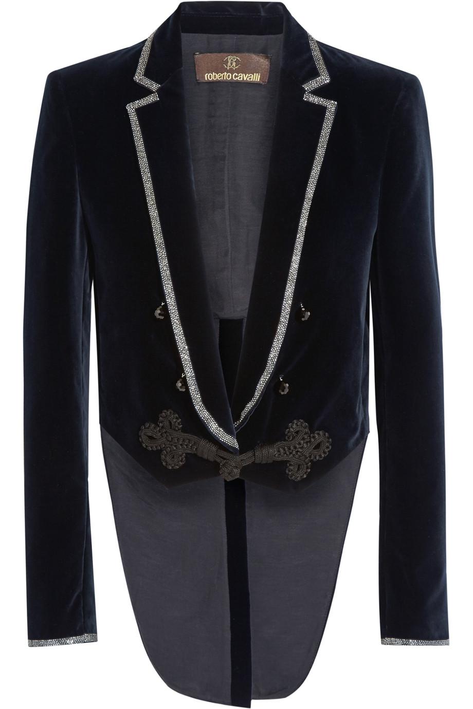 Roberto Cavalli Cropped Embellished Velvet Jacket, Size: 38