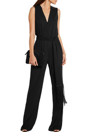 Roberto Cavalli Crystal-embellished satin-trimmed stretch-crepe jumpsuit