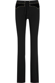 Roberto Cavalli Embellished velvet-paneled stretch-cady flared pants