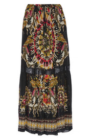 Lace-trimmed printed silk-chiffon maxi skirt