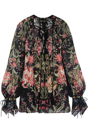 Roberto Cavalli Galaxy lace-trimmed printed silk-georgette blouse