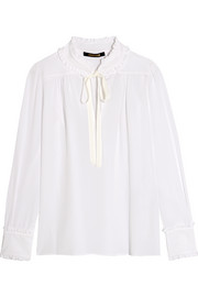 Ruffle-trimmed silk crepe de chine blouse