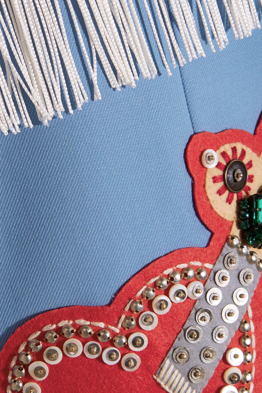 Gucci Fringed embellished stretch-twill jacket