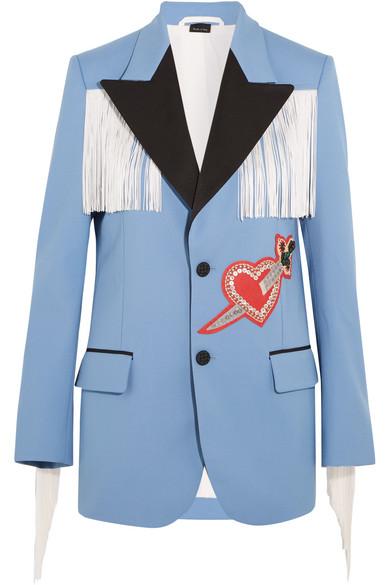 Gucci - Fringed Embellished Stretch-twill Jacket - Blue