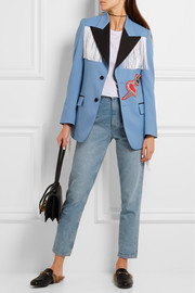 Gucci Fringed embellished stretch-twill jacket