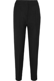 Satin-trimmed wool-crepe slim-leg pants