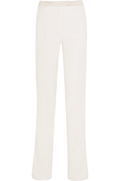 pallas female 45883 pallas hector satintrimmed woolcrepe wideleg pants offwhite