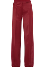 Hector crepe-trimmed satin wide-leg pants