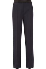 Satin-trimmed wool-crepe wide-leg pants