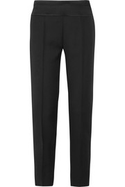 Satin-trimmed wool-twill slim-leg pants