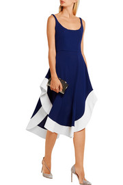 Esteban Cortazar Asymmetric satin-trimmed jersey midi dress