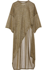 Esteban Cortazar Asymmetric metallic ribbed-knit tunic