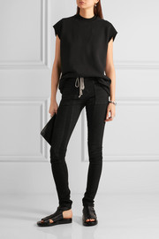 Rick Owens Ribbed jersey-paneled stretch-denim leggings