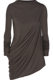 Asymmetric draped jersey top