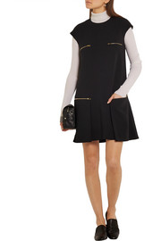 Stella McCartney Zip-embellished pleated stretch-crepe mini dress