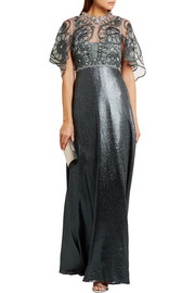 Biyan Ilya embellished stretch-tulle and Lurex maxi dress