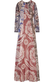 Izoia appliquéd silk-blend lamé maxi dress