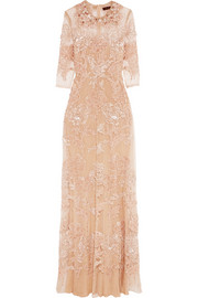 Biyan Innete embellished point d'esprit tulle maxi dress