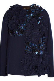 Carla embellished appliquéd wool-blend jacket